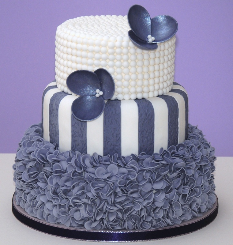 purple and white 3 tier cake