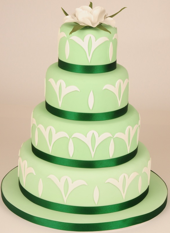green and white 4 tier cake