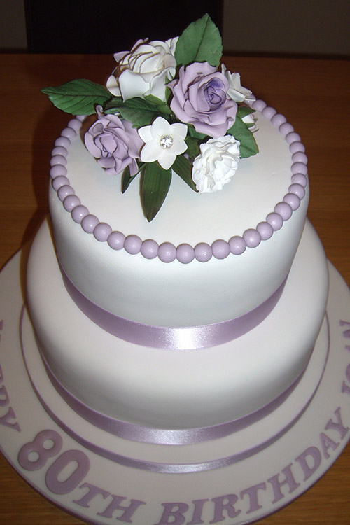Birthday cake with flowers & writing designed by Janet Dobie from JD Cake Designs