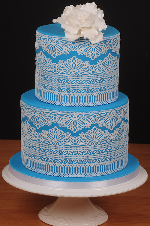 Blue Birthday Cake With Lace Detail Designed By Janet Dobie From JD Designs