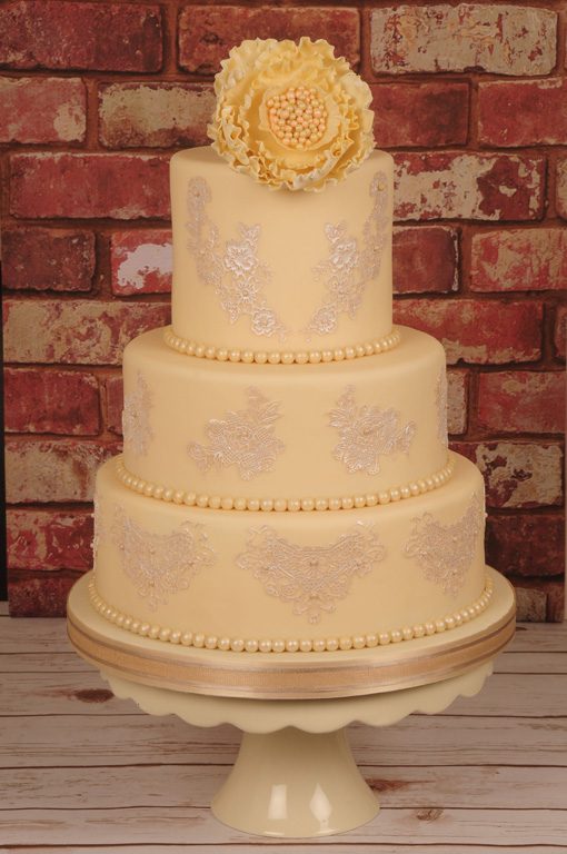 cream coloured with pearls Wedding cake designed by Janet Dobie from JD Cake Designs