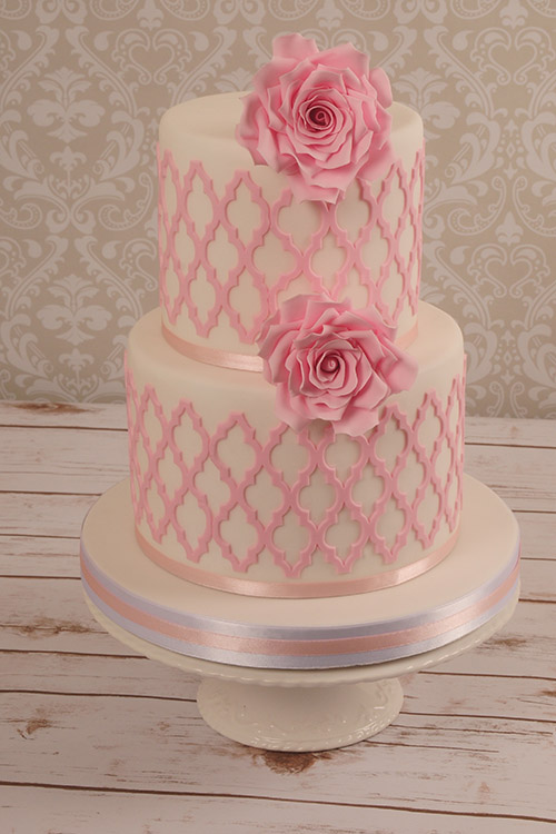 pink and white Wedding cake with fondant flowers designed by Janet Dobie from JD Cake Designs