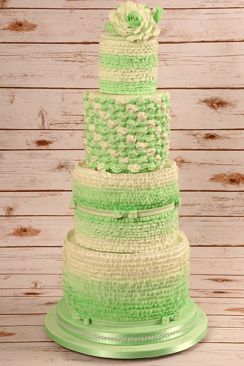 lime green Wedding cake designed by Janet Dobie from JD Cake Designs